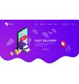 delivery landing with phone violet vector image vector image