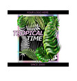 design with tropical leaves and a hologram frame vector image vector image