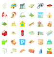 downtown icons set cartoon style vector image vector image