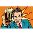 Emotional vintage man with beer vector image vector image