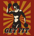 fitness retro poster vector image