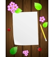 Floral wooden background vector image vector image