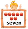 girl showing number seven banner vector image vector image