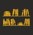 golden books on the shelf on black background vector image vector image