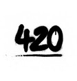 graffiti 420 number sprayed in black over white vector image vector image