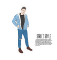 handsome man in jeans jacket and t-shirt summer vector image