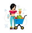 Healthy food and Girl Flat style colorful vector image