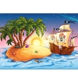 island with a pirate ship vector image vector image