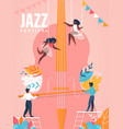 jazz festival banner people playing on huge cello vector image