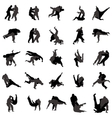 Judo wrestlers silhouette set icons simple style vector image vector image
