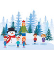 little kids with mother in the snowscape vector image