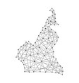 map of cameroon from polygonal black lines and dot vector image vector image
