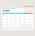 may 2018 calendar or desk vector image vector image