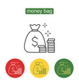 money saving and money bag icon design vector image