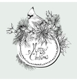 Monochrome Christmas vintage floral greeting card vector image vector image