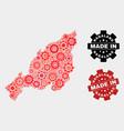 mosaic nagaland state map gearwheel items and vector image vector image
