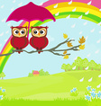 Owls couple under umbrella autumn rainy day vector image