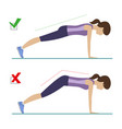 right and wrong plank position vector image vector image