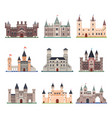 set isolated medieval castle with tower vector image vector image