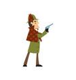 sherlock holmes detective character holding gun vector image vector image