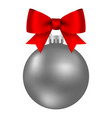 silver christmas ball on a ribbon with a beautiful vector image