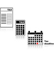 tax form calculator and deadline vector image