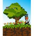 tree high on breakaway and wild animals vector image vector image