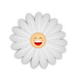 white daisy flower with happy face vector image vector image