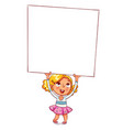 girl raised a large advertising poster vector image