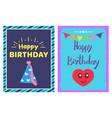 happy birthday cap cards set vector image