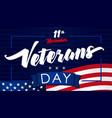11 november veterans day usa flag banner vector image vector image