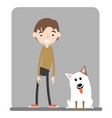 a handsome boy standing with his dog vector image
