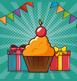 birthday card with cupcake and gifts vector image