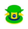 Brazilian green hat icon isometric 3d style vector image vector image