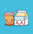 breakfast cute milk box and plastic coffee cup vector image