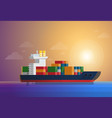cargo container ship transports containers at the vector image