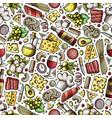 cartoon cute hand drawn italian food seamless vector image