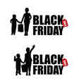 children silhouette with black friday and sale tag vector image vector image