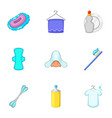 Clean up things icons set cartoon style