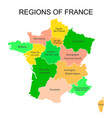 colorful outlines map of france with names on vector image