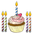 cupcake and candles vector image vector image