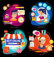 customer support call center and online shopping vector image vector image