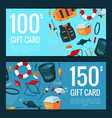discount or gift card with cartoon fishing vector image vector image