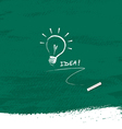 Drawing bulb light idea on blackboard background vector image vector image