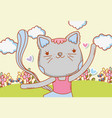 female cat dancing with clouds and flowers vector image