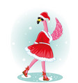 funny flamingo with santa hat and black glassless vector image vector image