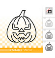 halloween pumpkin face simple line icon vector image vector image