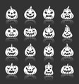 Halloween pumpkin white silhouette icon set