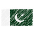 hand drawn national flag of pakistan isolated on a vector image vector image