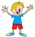happy kid boy character cartoon vector image vector image